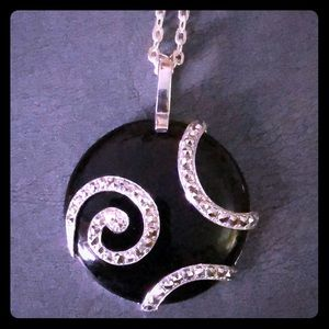 Vintage Sterling Silver Onyx & Marcasite Necklace